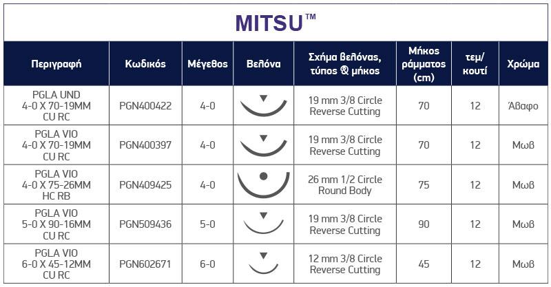 Τεχνικά Χαρακτηριστικά ράμματος MITSU